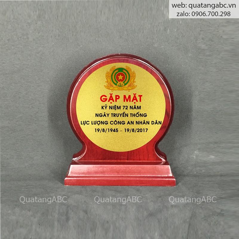 KNC gỗ G14 tròn nâu 18x15cm – khung tròn bạc 05a
